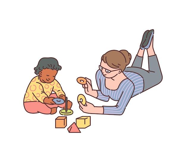 Tata o baby sitter che gioca con l'illustrazione di schizzo del bambino