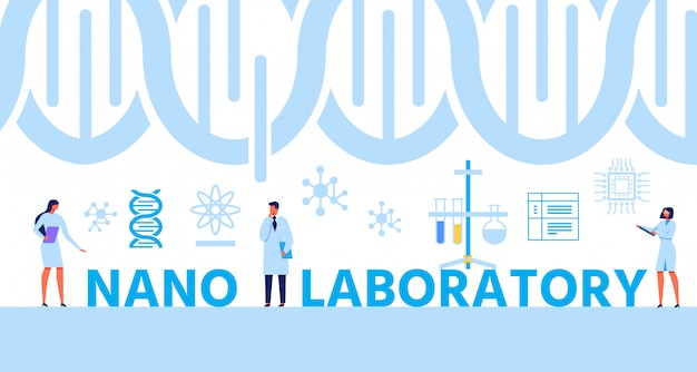 Banner di testo nano lab con dna di elica ed esperti