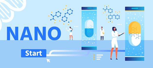 Pagina di destinazione dei cartoni animati per lo sviluppo di medicinali nano