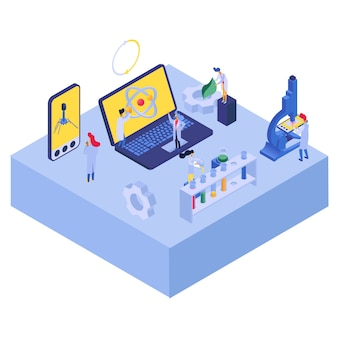 Ricerca di tecnologia nana con atomo, illustrazione. bandiera isometrica di nanotecnologia di scienza, ingegneria della medicina in laboratorio