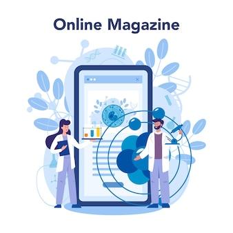 Piattaforma o servizio online nanomedic. gli scienziati lavorano in laboratorio sulla nanotecnologia. rivista in linea. . Vettore Premium
