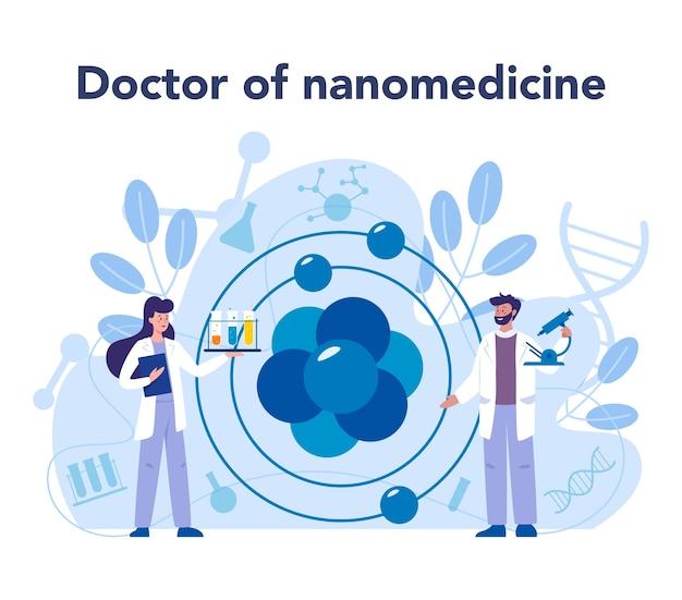 Nanomedic. gli scienziati lavorano in laboratorio sulla nanotecnologia. la nanomedicina applica le conoscenze della nanotecnologia per curare e prevenire la cura delle malattie. Vettore Premium