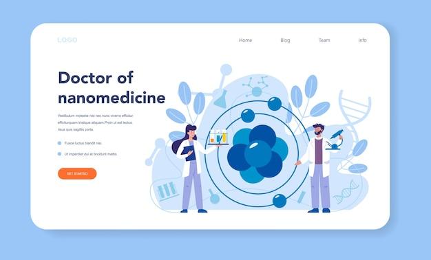 Banner web o pagina di destinazione nanomedicale. gli scienziati lavorano in laboratorio sulla nanotecnologia. la nanomedicina cura e previene il trattamento delle malattie. .