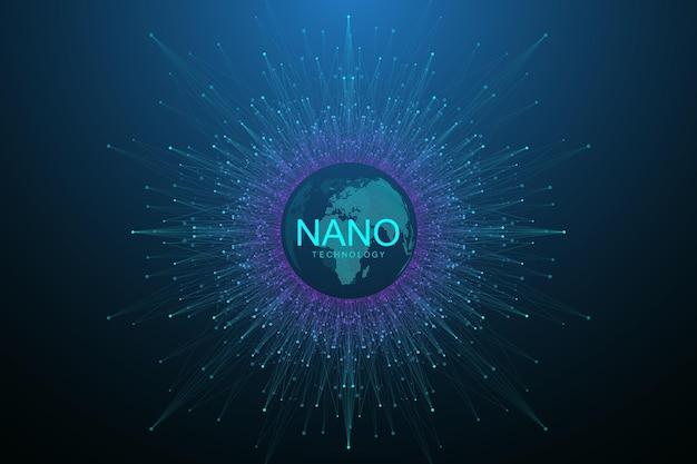 Fondo astratto di nanotecnologia. concetto di tecnologia informatica. intelligenza artificiale, realtà virtuale, bionica, robotica, rete globale, microprocessore, nano robot. illustrazione vettoriale, bandiera.