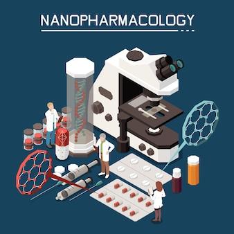 Nanotecnologia nella composizione isometrica in farmacologia con microscopio elettronico pillole per l'imballaggio di nanofarmacologia farmaci in sfondo di nanoparticelle