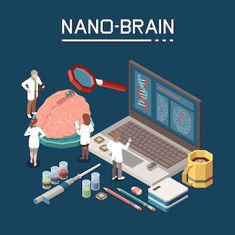 Simboli di ricerca sulla nanotecnologia processo di creazione del cervello nano artificiale personale di laboratorio microchip di caffè composizione isometrica del computer