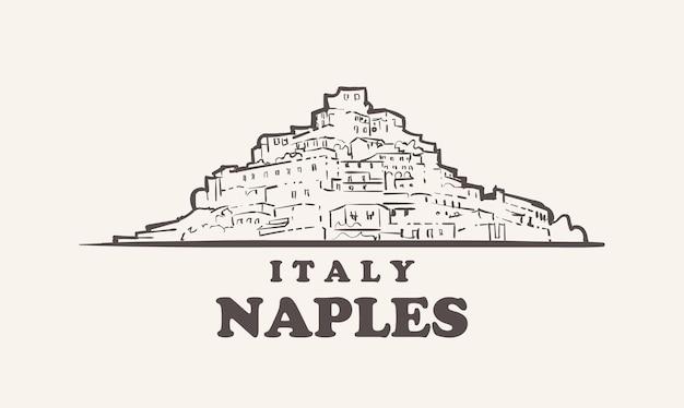 Illustrazione disegnata a mano di italia di schizzo di paesaggio urbano di napoli