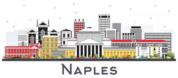 Orizzonte della città di napoli italia con edifici di colore isolato su bianco. illustrazione di vettore. viaggi d'affari e concetto di turismo con architettura moderna. paesaggio urbano di napoli con punti di riferimento.