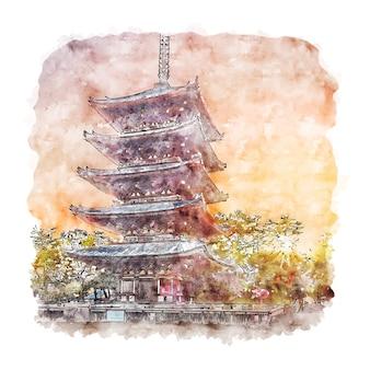 Illustrazione disegnata a mano di schizzo dell'acquerello del giappone della prefettura di nara
