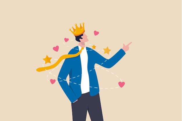 Persone narcisisti, estremo coinvolgimento di sé, troppo disordine fiducioso, atteggiamento così orgoglioso, persona egocentrica, uomo d'affari narcisista che si ammira e orgoglioso della sua corona con amore e stelle intorno.