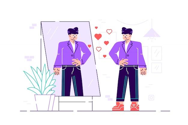 Il personaggio narcisistico dell'uomo guarda allo specchio. donna che sta e che guarda in specchio. design moderno di stile piatto fumetto illustrazione per pagina web, carte, poster, social media. importanza della bellezza macho