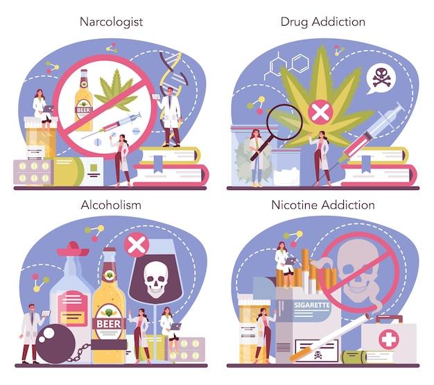 Insieme di concetto del narcologo. medico specialista professionista. dipendenza da droghe, alcoliche e tabacco. idea di trattamento medico per persone tossicodipendenti.