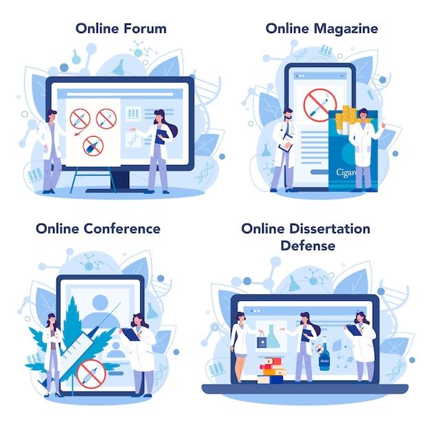 Servizio online di narcologo o set di piattaforme
