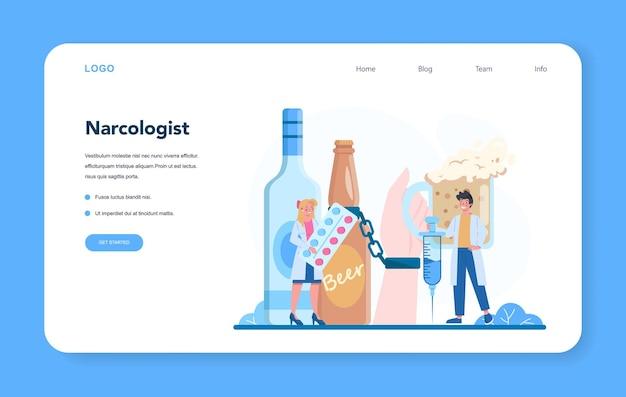 Banner web o pagina di destinazione del narcologo. medico professionale