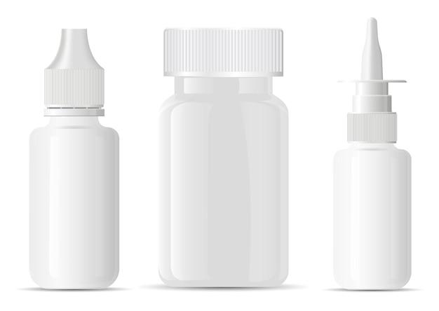 Flacone spray nasale. contenitore della bottiglia della pillola vuoto. barattolo di aerosol medico, modello di erogatore per spruzzatore nasale. contagocce per farmaci per gli occhi, piccola dose. vitamina di supplemento della compressa del medicinale vuoto