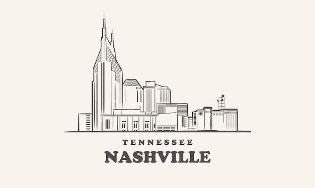 Schizzo disegnato di nashville skyline tennessee