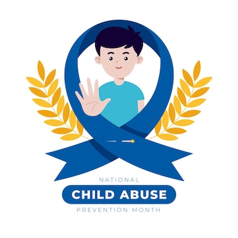 Illustrazione del mese nazionale di prevenzione degli abusi sui minori