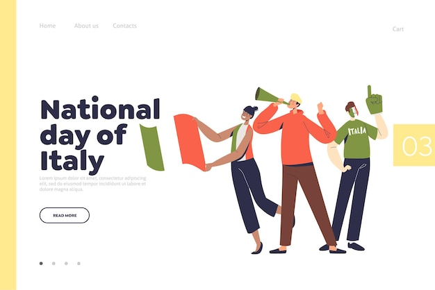 Giornata nazionale d'italia concetto di pagina di destinazione