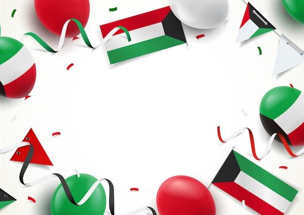 Festa nazionale del kuwait. sfondo con palloncini, bandiere