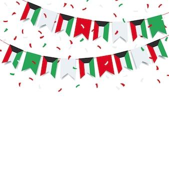 Festa nazionale del kuwait. ghirlanda con la bandiera del kuwait su uno sfondo bianco.