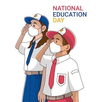 Studente indonesiano per la giornata dell'educazione nazionale