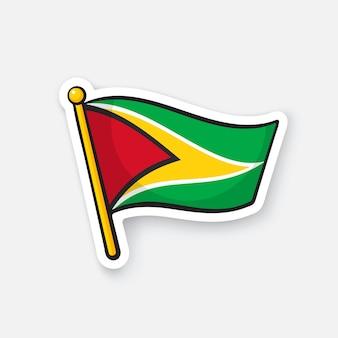 Bandiera nazionale della guyana sull'asta della bandiera simbolo di posizione per i viaggiatori illustrazione vettoriale