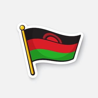 Bandiera nazionale dei paesi del malawi in africa simbolo di posizione per i viaggiatori illustrazione vettoriale