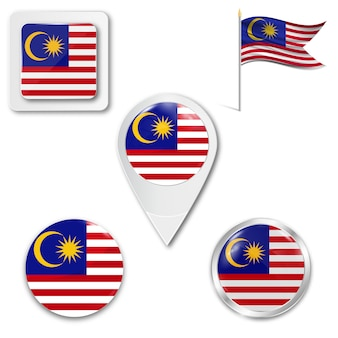 Metta la bandiera nazionale delle icone della malesia