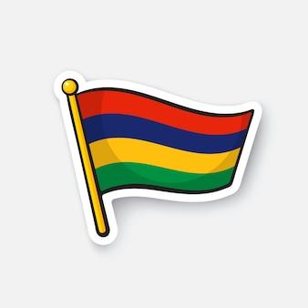 Bandiera nazionale dei paesi di mauritius in africa simbolo di posizione per i viaggiatori i