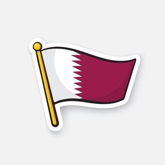 Bandiera nazionale del qatar sull'asta della bandiera simbolo di posizione per i viaggiatori illustrazione vettoriale