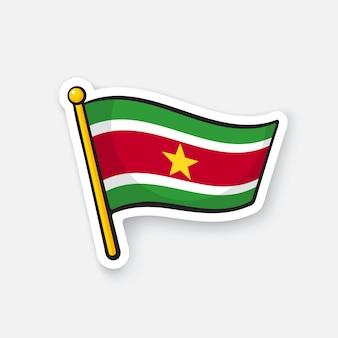 Bandiera nazionale del suriname sull'asta della bandiera simbolo di posizione per i viaggiatori illustrazione vettoriale