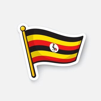 Bandiera nazionale dei paesi dell'uganda in africa simbolo di posizione per i viaggiatori illustrazione vettoriale