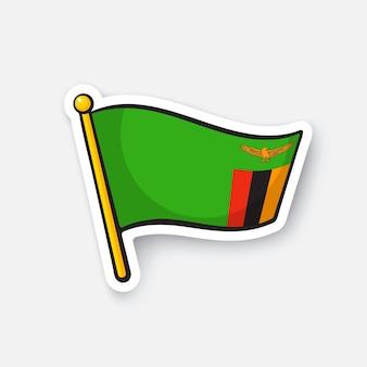 Bandiera nazionale dei paesi dello zambia in africa simbolo di posizione per i viaggiatori illustrazione vettoriale