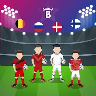 Personaggio piatto del gruppo b della nazionale di calcio per la competizione europea