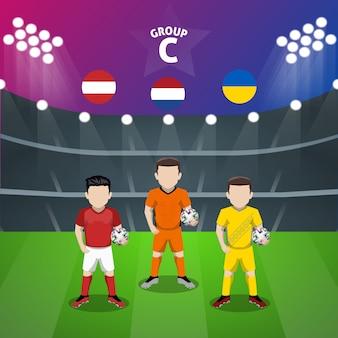 Personaggio piatto della squadra di calcio nazionale gruppo c per la competizione europea