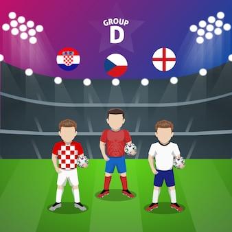 Personaggio piatto del gruppo d della nazionale di calcio per la competizione europea