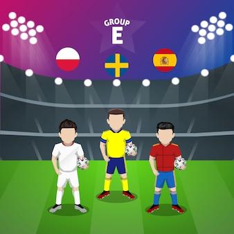 Personaggio piatto del gruppo e della nazionale di calcio per la competizione europea
