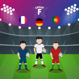 Personaggio piatto del gruppo f della nazionale di calcio per la competizione europea