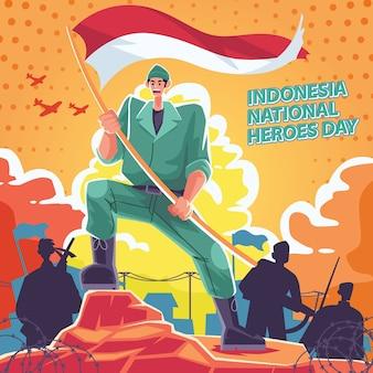 Giornata nazionale degli eroi, uomo che porta bandiera bianca e rossa e stile fumetto retrò