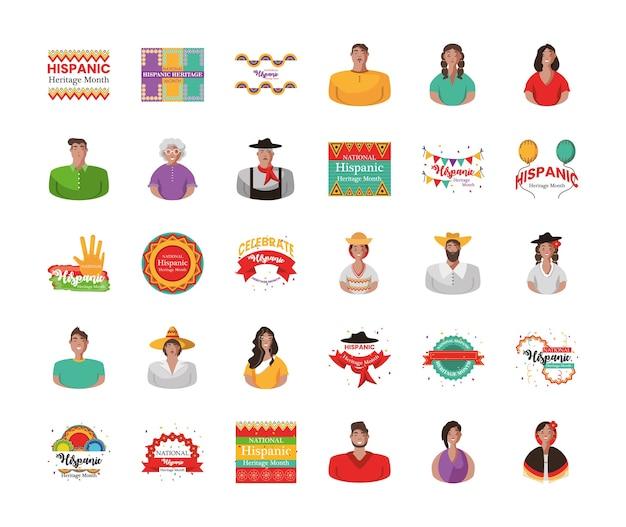 Set di icone, cultura e latino del mese 30 del patrimonio nazionale ispanico