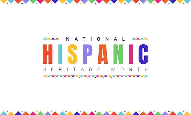 Modello di banner orizzontale national hispanic heritage month con testo colorato e bandiere su sfondo bianco. influenza del patrimonio latinoamericano su una cultura mondiale.