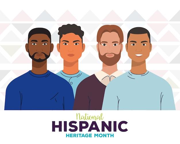 Mese nazionale del patrimonio ispanico, con un gruppo di uomini, diversità e concetto di multiculturalità.