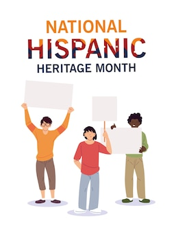 Mese nazionale del patrimonio ispanico con cartoni animati di uomini latini, illustrazione di tema di cultura e diversità