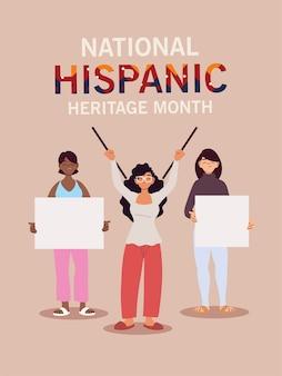 Mese nazionale del patrimonio ispanico con cartoni animati di donne latine, illustrazione del tema della cultura e della diversità