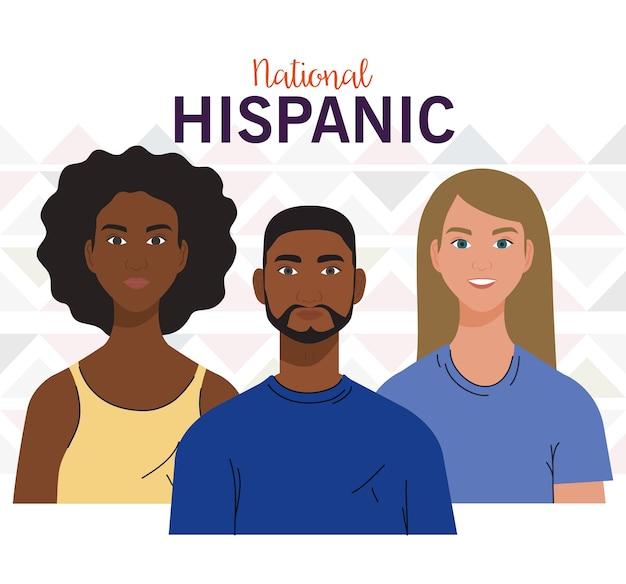 Mese nazionale del patrimonio ispanico, con persone insieme, diversità e concetto di multiculturalismo.