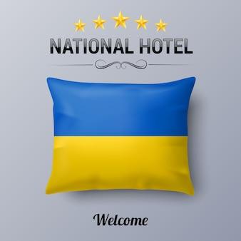 Cuscino national hotel isolato su grigio