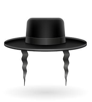Cappello nero ebraico nazionale con illustrazione di sidelocks isolato su priorità bassa bianca