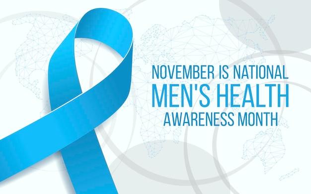 Concetto di mese nazionale di sensibilizzazione alla salute degli uomini. modello di banner con consapevolezza e testo del nastro blu. illustrazione vettoriale.