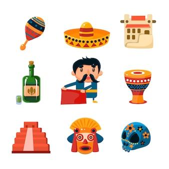 Illustrazione di oggetti messicani nazionali
