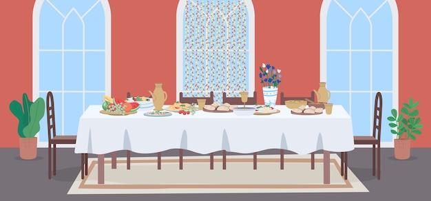 Illustrazione di colore piatto pasto nazionale musulmano
